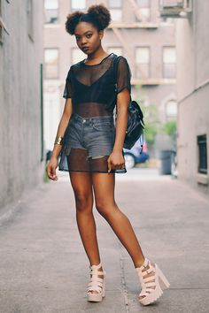 Street fashion @holopastel - Mesh top over tank and shorts