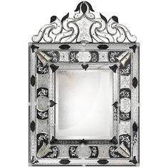 Arte Veneziana Museo Mirror (26,865 CAD) ❤ liked on Polyvore featuring home, home decor, mirrors, blue, beveled mirror, rectangle mirror, blue home decor, blue mirror and engraved mirrors