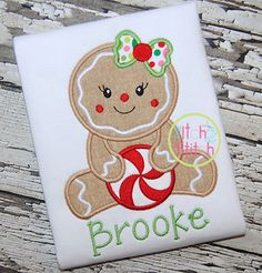 I2S Sitting Gingerbread Girl Applique design