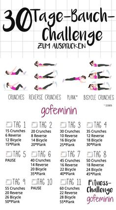 The 30 day belly challenge: bye rolls, hello six pack! - The whole challenge can be printed out on gofeminin.de, Say goodbye to lifebuoy and plauze – with the belly challenge you finally put an end to the poor belly fat. Fitness Workouts, Fitness Herausforderungen, Lower Ab Workouts, Sport Fitness, At Home Workouts, Health Fitness, Fitness Equipment, Workout Routines, Workout Plans