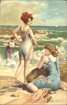 Vintage postcard.... Now this is my idea of a swimsuit these days.... ;)