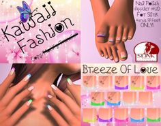 "^~Kawaii ""Breeze Of Love"" Slink Hand & Feet Applier~^. Virtual World, Virtual Reality, Second Life, Breeze, Avatar, Kawaii, Unisex"