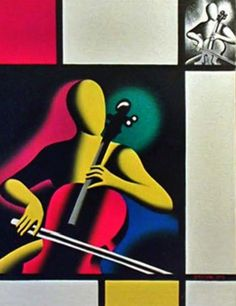 Mark Kostabi Mostly Mondrian , Music, Surrealism, portrait, painting of cellist by Mark Kostabi Picasso Paintings, Original Paintings, Mark Kostabi, Paint And Sip, Mondrian, Contemporary Artists, Art For Sale, Limited Edition Prints, Oil On Canvas