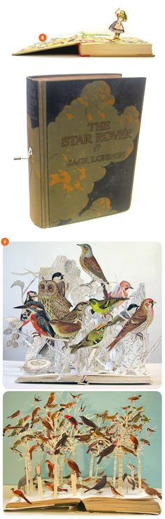 now, if you have a bed with a nest built right in, you're definitely going to need these! you may not be able to read them, but these bird book sculptures would be a stunning addition to anyone's bed side table {su blackwell}!