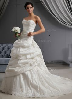 Wedding Dresses - $286.99 - A-Line/Princess Sweetheart Chapel Train Taffeta Wedding Dress With Ruffle Lace Beadwork Flower(s) (002022653) http://jjshouse.com/A-Line-Princess-Sweetheart-Chapel-Train-Taffeta-Wedding-Dress-With-Ruffle-Lace-Beadwork-Flower-S-002022653-g22653