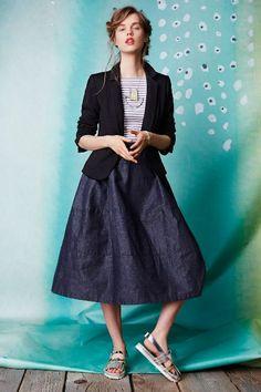 Denim Bell Midi Skirt #Anthropologie