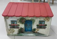 Wooden Mailbox, My Fairy Garden, Wood Glass, Wood Boxes, Painting On Wood, Furniture Decor, Home Art, Gazebo, Decoupage