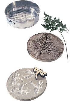 From SPRING FORM PANS, great idea! Also suggests plastic garbage can lids as molds for larger stones (Diy Garden Stones) Concrete Crafts, Concrete Art, Concrete Projects, Stamped Concrete, Diy Garden Projects, Garden Crafts, Garden Stepping Stones, Garden Pavers, Concrete Stepping Stones