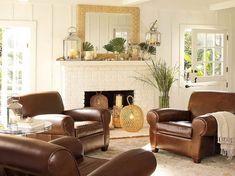 Wohnzimmer Verzierungs Ideen Brown Leder Möbel
