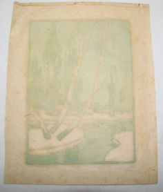 """""""Mystic River"""" early 20th woodblock print signed Heinrich Carl, listed Arts & Crafts period artist. Plainville, CT Auction Ending 2/24/13"""