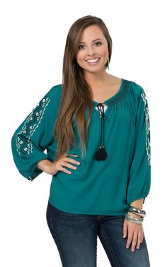 Rock & Roll Cowgirl Women's Teal with Aztec Embroidery 3/4 Sleeve Fashion Top   Cavender's