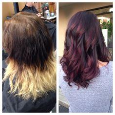 Dark purple base with dark red balayage #stylelounge #hairbychelsea