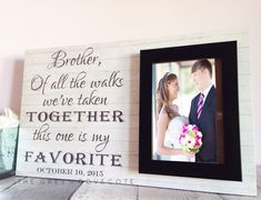 Brother wedding gift - brother of the bride gift - wedding gift for brother - personalized Brother Wedding Gifts, Sentimental Wedding Gifts, Wedding Gifts For Bride, Custom Wedding Gifts, Gifts For Brother, Card Box Wedding, Bride Gifts, Wedding Guest Book, Wedding Tips