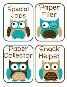 free---Classroom jobs - Owls