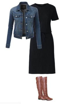 easy-fall-outfit-idea-for-moms-cotton-dress-denim-jacket-boots- Fall Outfits for Moms 47 Chic And Cute Winter Style Casual Outfit Ideas For Moms Simple Fall Outfits, Casual Outfits For Moms, Cool Summer Outfits, Fall Outfits For Work, Fall Fashion Outfits, Mom Outfits, Fall Winter Outfits, Easy Outfits, Fashion 2017