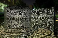 Sculpture in front of the UH library, covered with words and phrases from novels and poems