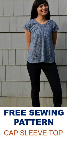 Free Sewing Pattern : CAP SLEEVE TOP: Get access to this free knit top pattern with a simple and easy step by step sewing tutorial.