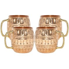 Amazon.com | DakshCraft Pure Copper Barrel Moscow Mule Mug, Set of 4: Coffee Cups & Mugs