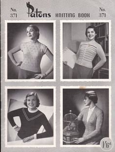 Vintage 1940s  Paton's Knitting Pattern No 371 by jennylouvintage