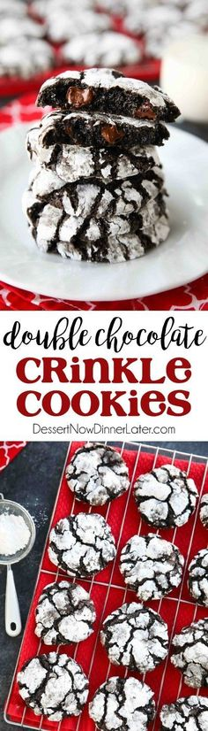 Chocolate Crinkle Cookies are soft and fudgy on their own, but these have chocolate chips added for twice the chocolatey goodness! Enjoy these Double Chocolate Crinkle Cookies for Christmas or any time of year!
