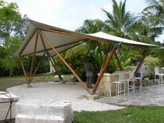 Bamboo Pavilion - Guadua Tech Project - Bamboo Arts and Crafts Gallery projects bamboo projects bamboo Bamboo Roof, Bamboo Art, Bamboo House, Bamboo Crafts, Bamboo Structure, Shade Structure, Fabric Structure, Tent Living, Outdoor Living
