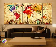 "Xlarge 30""x 70"" 5 Panels 30x14 Ea Art Canvas Print Original Wonders of the World Old Paper Map Colorful Wall Decor Home Interior (Framed 1.5"" Depth)"