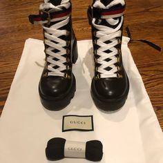 47cd879c3e05 Gucci Shoes | Gucci Sylvie Web Combat Boots | Color: Black | Size: 6.5