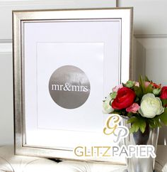 Mr and Mrs Newlywed Gold Foil Art Print Girly Home Decor Wall Art