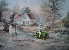 David Irvine can't stop painting characters into thrift store paintings