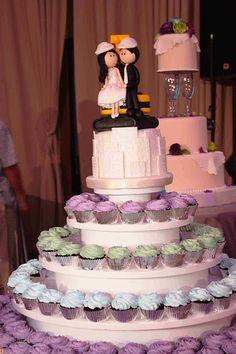 Pastel de bodas temática ingenieros civiles