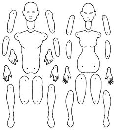 Male and female jointed paper doll templates. by MadunTwoSwords.deviantart.com on @DeviantArt