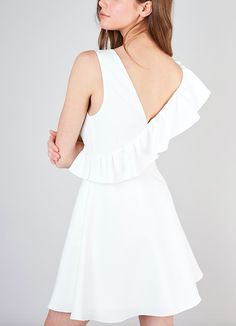 One Shoulder Ruffle Dress  Colour: White  Fabric: 97% Polyester 3% Spandex  Care: Machine Cold Wash. Fit: This dressed is relaxed fitting around the hips. It is true to size based on our size chart, if you are between sizes on the size chart then size down. The bust area accommodates to most cup sizes. The hem rests ab Ruffle Dress, Ruffles, One Shoulder, Cold Shoulder Dress, Hello Gorgeous, White Fabrics, Every Woman, Dress Colour, Color