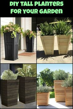 DIY tall planter project is a simple and fun way to add some oomph to your . - Deck Building Cost -This DIY tall planter project is a simple and fun way to add some oomph to your . Tall Outdoor Planters, Patio Planters, Outdoor Gardens, Diy Wood Planters, Front Porch Planters, Planter Ideas, Front Porches, Flowers For Planters, Large Diy Planters