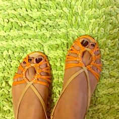 Adorable Sandals As is.  Good condition.  Price reflects the cost.  Size 8M. Burnt Orange/Dark beige color. Perfect for summer outfits!! Etienne Aigner Shoes Sandals