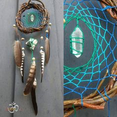 crystal dreamcatcher, dreamcatcher natural stone, dream catcher wall hanging, chakra dream catcher with stones, native america dream catcher Green Quartz, White Quartz, Clear Quartz, Quartz Crystal, Dream Catcher Craft, Blue Dream Catcher, Beautiful Dream Catchers, Dream Catcher Tutorial, Meditation Gifts