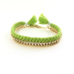 Celebutante Bracelet in Lime and Light Blue