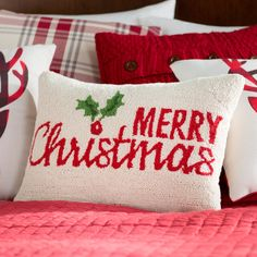 Merry Christmas Holly Hook Wool Lumbar Pillow by Three Posts Christmas Bedroom, Christmas Pillow, Plaid Christmas, Merry Christmas, Christmas Ideas, Christmas Time, Christmas Cushions, Christmas Traditions, White Christmas