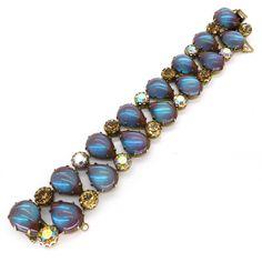 Vintage 1950s Regency Saphiret Glass Cabochon Aurora Borealis Bracelet | Clarice Jewellery