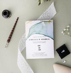 modern wedding invitation template with alcohol ink design Amelia, Dallas, Dance, Wedding, Dancing, Casamento, Weddings, Marriage, Mariage