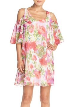 Free shipping and returns on Maggy London Flower Print Chiffon Cold Shoulder Dress at Nordstrom.com. A dreamy, watercolor floral print covers a cold-shoulder dress cut from floaty chiffon and styled with a cape-inspired back detail and flared elbow-length sleeves.