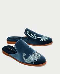 96646de2491 EMBROIDERED VELVET SLIDE LOAFERS - Flat Shoes-SHOES-WOMAN