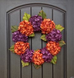 Hydrangea Wreath Halloween Summer Fall by AnExtraordinaryGift