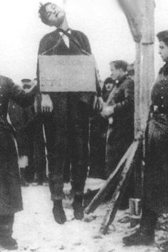 The Execution of Zoya Kosmodemyanskaya, hanged by the Nazis November 29, 1941 at the age of 18. She became one of the most revered martyrs of the Great Patriotic War waged by the Soviet Union to Nazi Germany.  ***___***         Zoya-4-just-hanged
