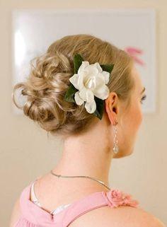 simple flower curly bun bridesmaid hairstyles for short hair - http://hairstylee.com/simple-flower-curly-bun-bridesmaid-hairstyles-for-short-hair/?Pinterest