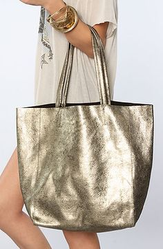 Yosi Samra Bag Muted Metallic Tote in Gold