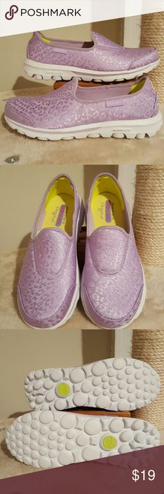 Skechers Go Walk Safari loafers in lavender Energize yourself with the Skechers Go Walk Safari sneakers. This versatile women's slip-on is crafted with a soft textile upper for durable Comfort. A lightweight, shock absorbing midsole provides support, while a flexible, traction enhancing sole allows the Skechers Go Walk Safari shoes to deliver a more responsive natural feel for the ground. Brand new in the original box and never worn. Skechers Shoes Flats & Loafers