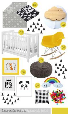 inspiração quarto do bebe preto branco amarelo cinza