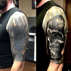 What do you think about this cover-up in progress By Marceldaatz - Cover-Up Tattoos - Tribal Tattoo Cover Up, Tribal Cover Up, Cover Up Tattoos For Men, Tattoos To Cover Scars, Black Tattoo Cover Up, Cool Tattoos For Guys, Cover Tattoo, Tattoos 3d, Skull Sleeve Tattoos