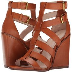 Pour La Victoire Cecile Women's Wedge Shoes, Brown ($165) ❤ liked on Polyvore featuring shoes, sandals, heels, wedges, brown, wedges shoes, gladiator sandals, heeled sandals, brown leather sandals and brown heel sandals