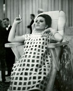 "Patty Duke on the set of ""Valley of the Dolls"" wearing the gold cage dress"